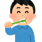 歯を磨いている男性のイラスト