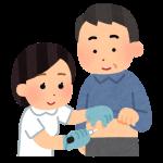 看護師によるインスリン注射のイラスト(男性)
