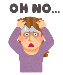 「OH NO...」と嘆く白人女性のイラスト