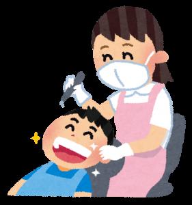 歯のクリーニングのイラスト「歯科衛生士さんと子供」