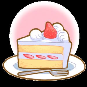 ショートケーキのイラスト(背景あり)